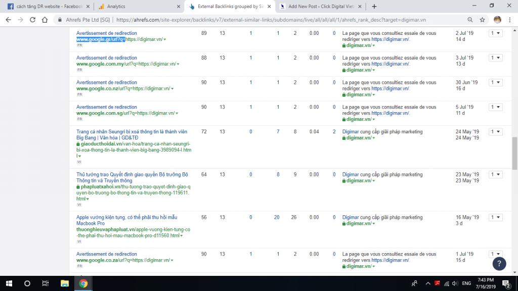 cách tăng DR cho website bằng >100 link của Google