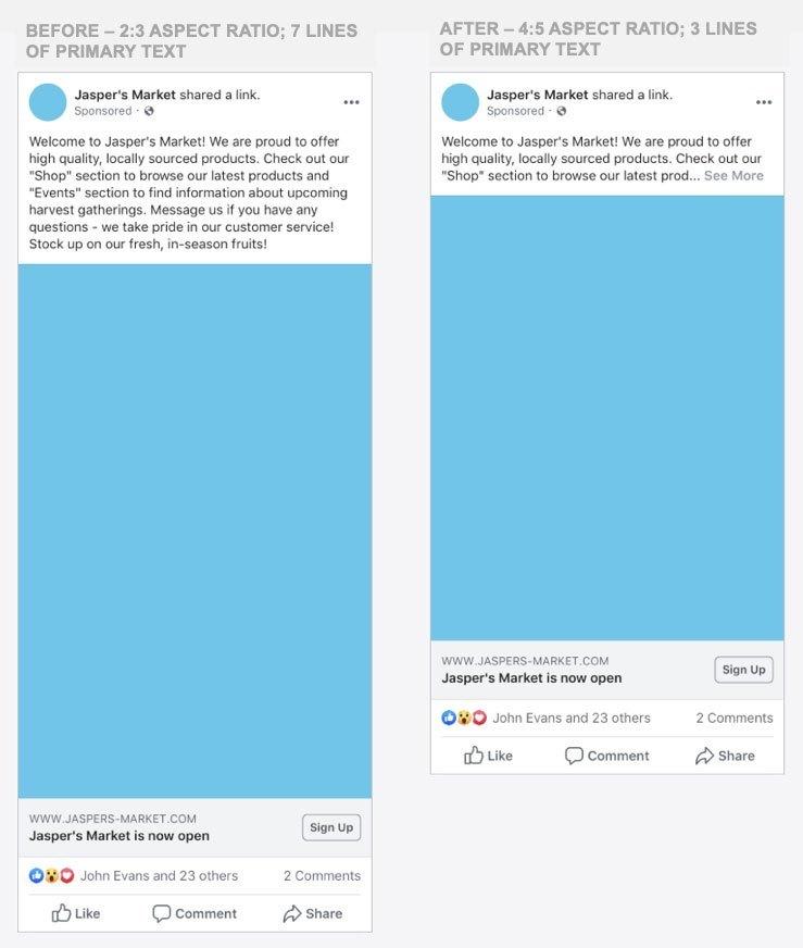 format quảng cáo facebook thay đổi