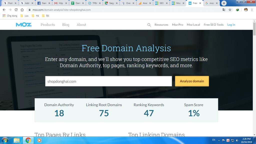công cụ phân tích website của moz