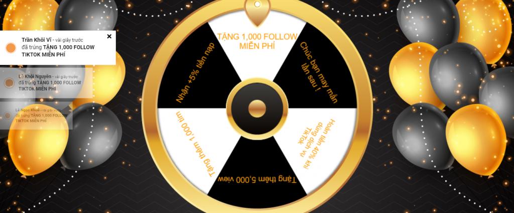 giao diện vòng quay trúng 1,000 follow TikTok free