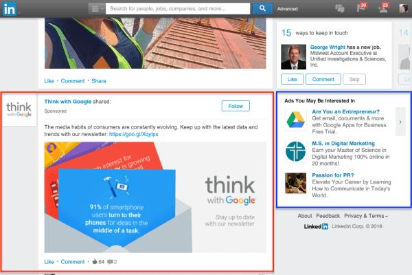 Quảng cáo Linkedin bình thường trên Newsfeed và Sidebar